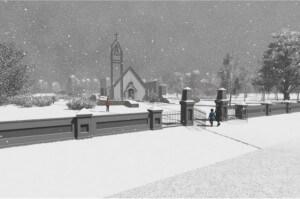 Džūkstes baznīca vizualizācija ziema 2