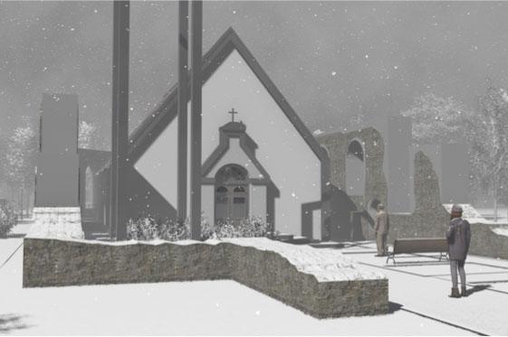 Džūkstes baznīca vizualizācija ziema 1