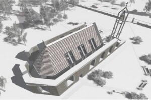 Džūkstes baznīca vizualizācija ziema 3